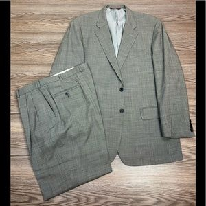 Samuelsohn Grey Tic-Weave Check Suit 44L Long